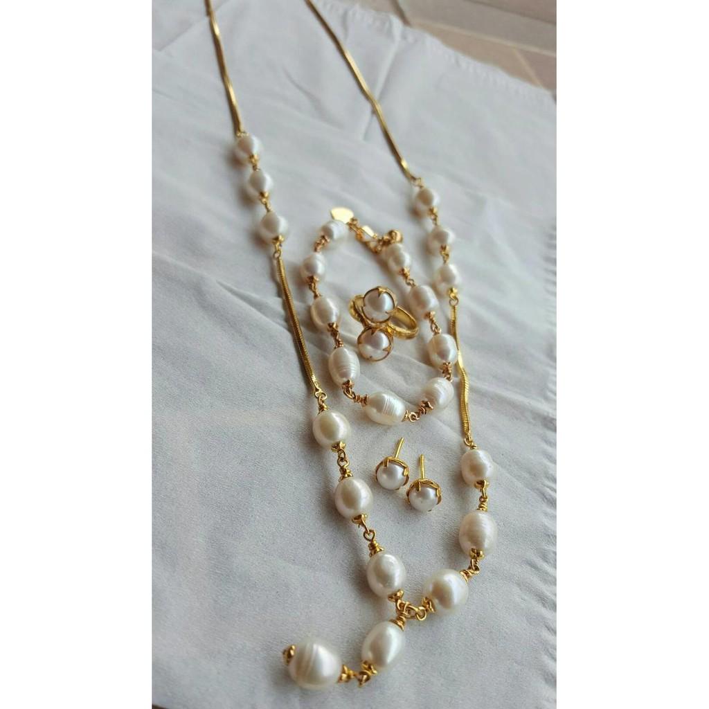 Perhiasan Rhodium Mutiara Asli Air Tawar Shopee Indonesia 1 Set