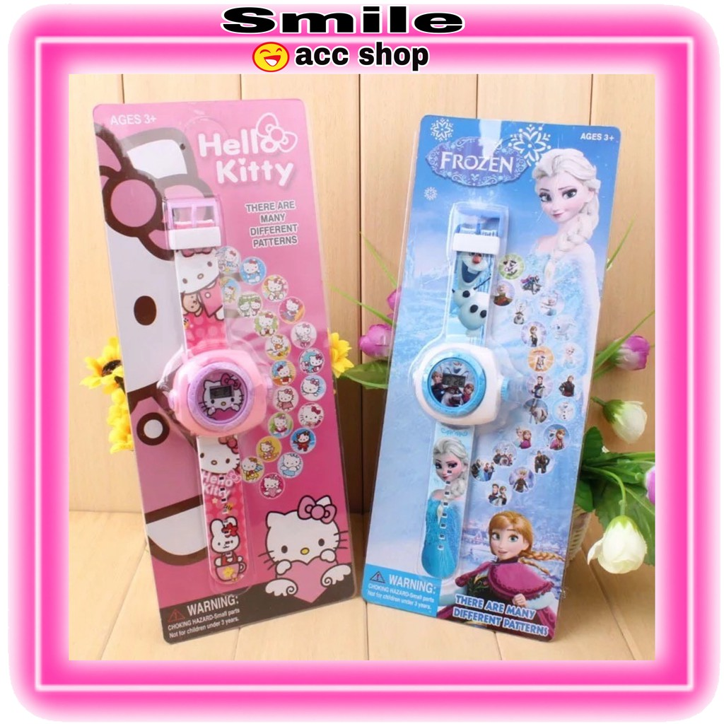 SMILE Jam Tangan Proyektor 20 Gambar Kartun Kitty 3D Untuk Edukasi SF 017