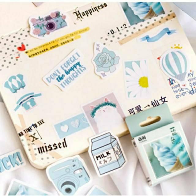 Sticker Deco Aesthetic Blue Scrapbook DIY Planner Diary ...