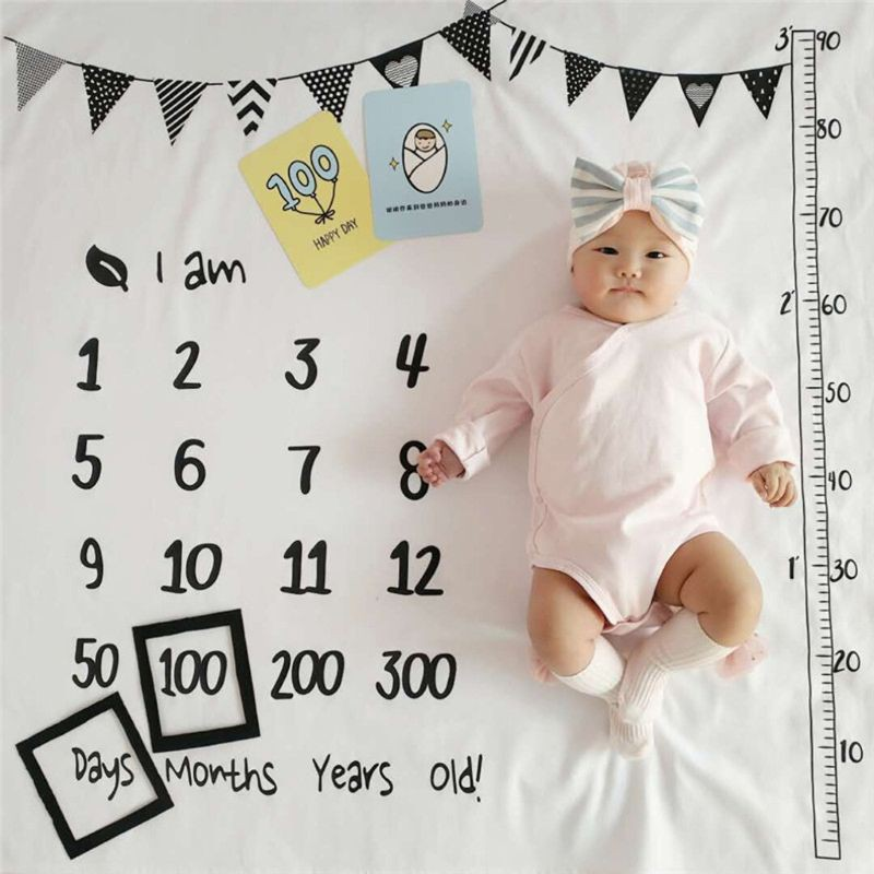 Wili 100x100cm Baby Milestone Blankets Muslin Newborn Photography Background Props Infant Swaddle Wrap Bed Quilt Kids Bath Towel Shopee Indonesia