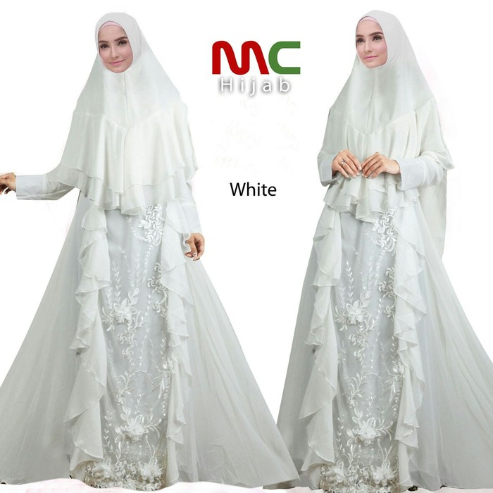 Ready Up Imel White Gamis Pesta Syari Putih Bunga3d Pengantin Akad Nikah Merit