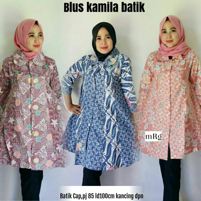 Tunik Batik Wanita Jumbo Atasan Batik Wanita Kerja Big Size Batik Wanita Modern Terbaru 2018