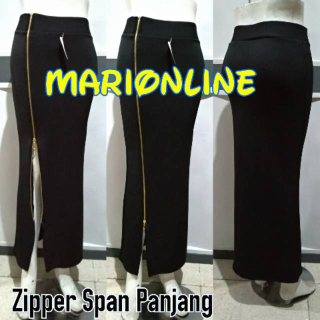Rok Span Panjang Retsleting Long Gold Zipper Skinny Skirt