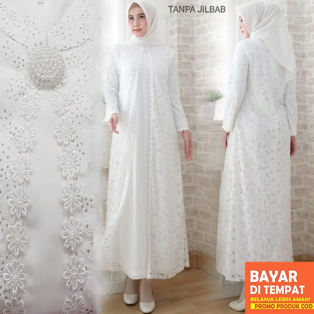 SALE AGNES Baju Gamis Wanita Brukat / Gamis Putih Lebaran Umroh Haji /  Busana Muslim Wanita #10