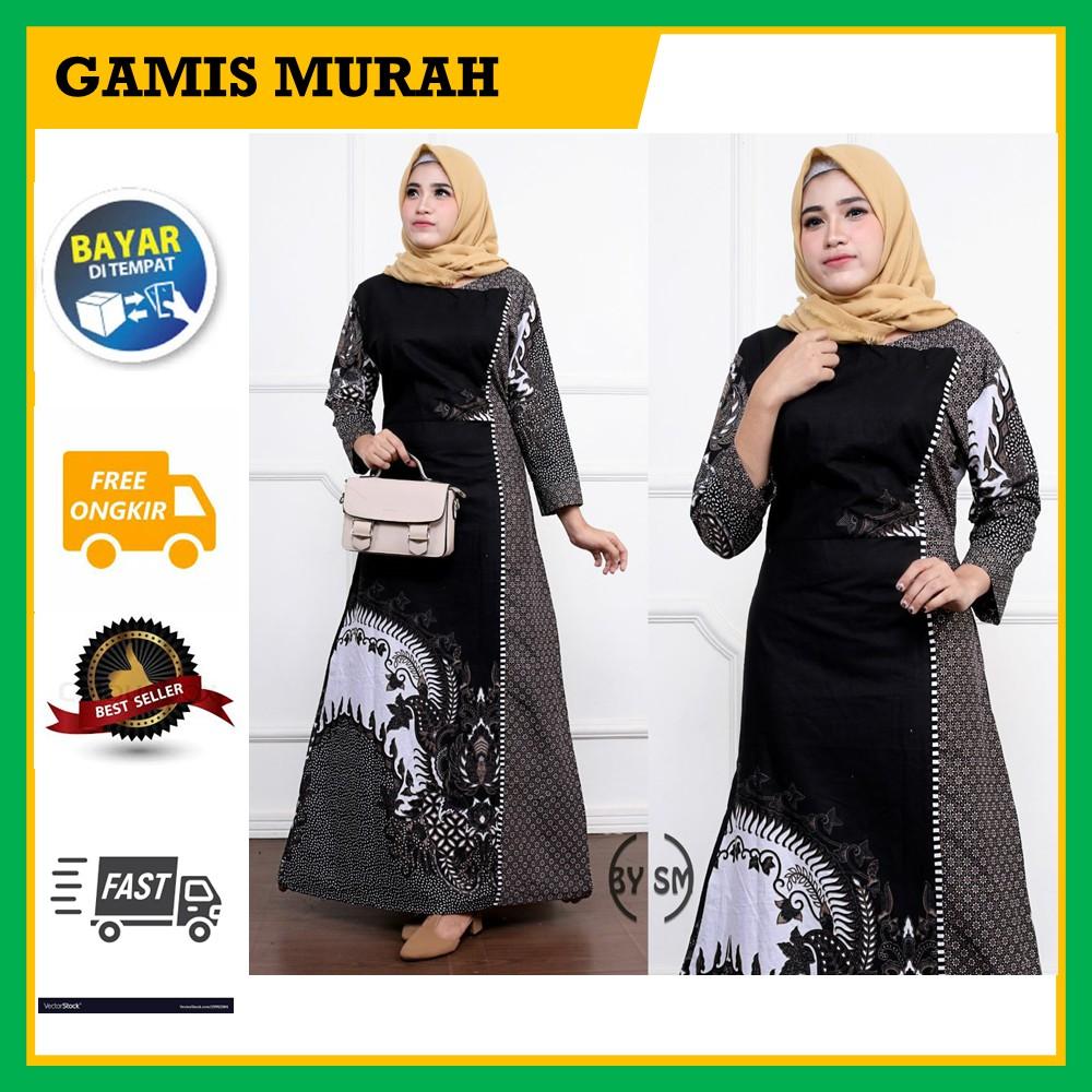 COD- Gamis wanita JUMBO baju GAMIS BATIK Model TERBARU Modern Busana Muslim  - GAMIS MURAH ORIGINAL