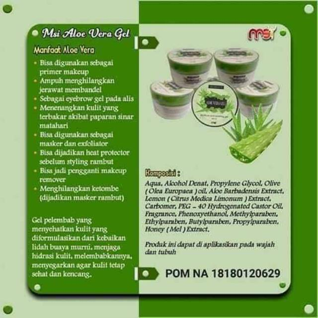 Msi Beauty Aloevera Gel Original Skincare Wajah Ekstrak Lidah Buaya Aloe Vera Smooting Gel Shopee Indonesia