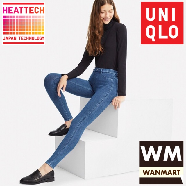 Uniqlo Women Pants Celana Legging Heattech Wanita Denim Blue Shopee Indonesia