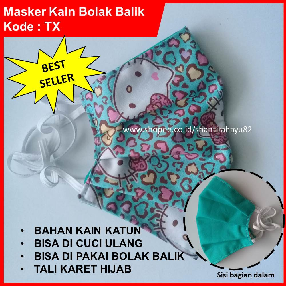 Stok Terbatas Masker Kain Tali Karet Hijab Shopee Sensi Tie On 3 Ply Indonesia