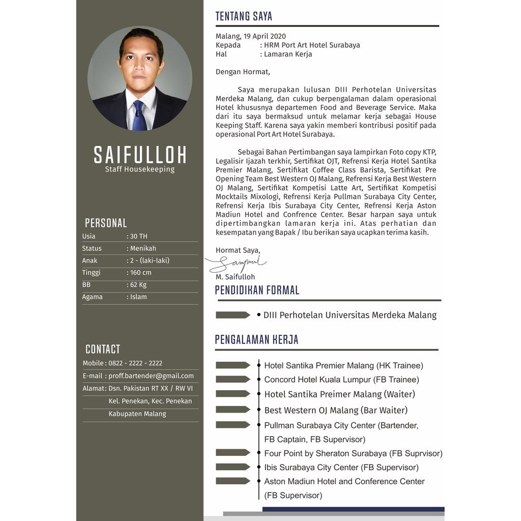Cv Surat Lamaran Kerja Modern Elegant Simple Shopee Indonesia