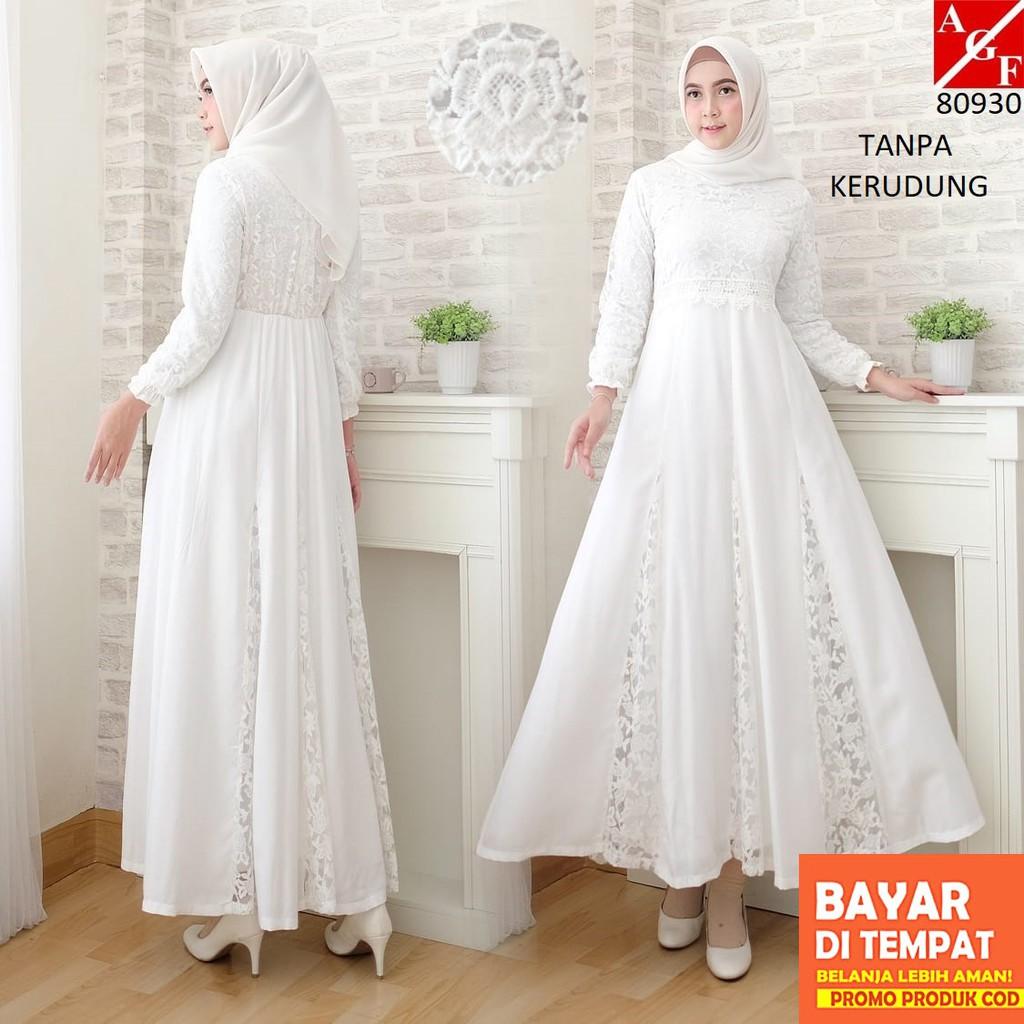 AGNES Baju Gamis Wanita Brukat / Dress Brukat Lebaran Umroh Haji / Busana  Muslim Wanita 10