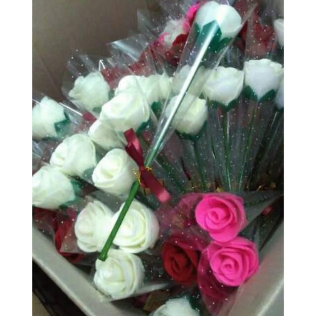 Bunga Mawar Setangkai Tangkai Flanel Souvenir Pernikahan Event Acara Shopee Indonesia