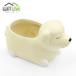 Pot Tanaman Mini Model Anjing Labrador Lucu Untuk Kaktus Lidah Buaya Succulent