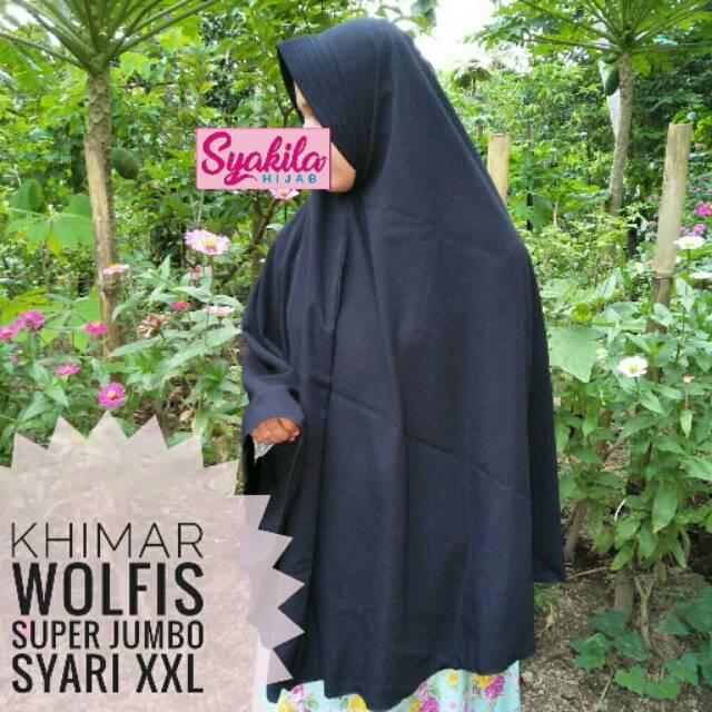 Jilbab Khimar Wolfis Wollpeach Pet Antem Super Jumbo Syari XXL   Shopee Indonesia