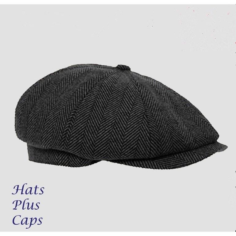 5abb637ab Mens Flat Cap Grey Herringbone Newsboy Bakerboy Hat Gatsby Peaky Blinders