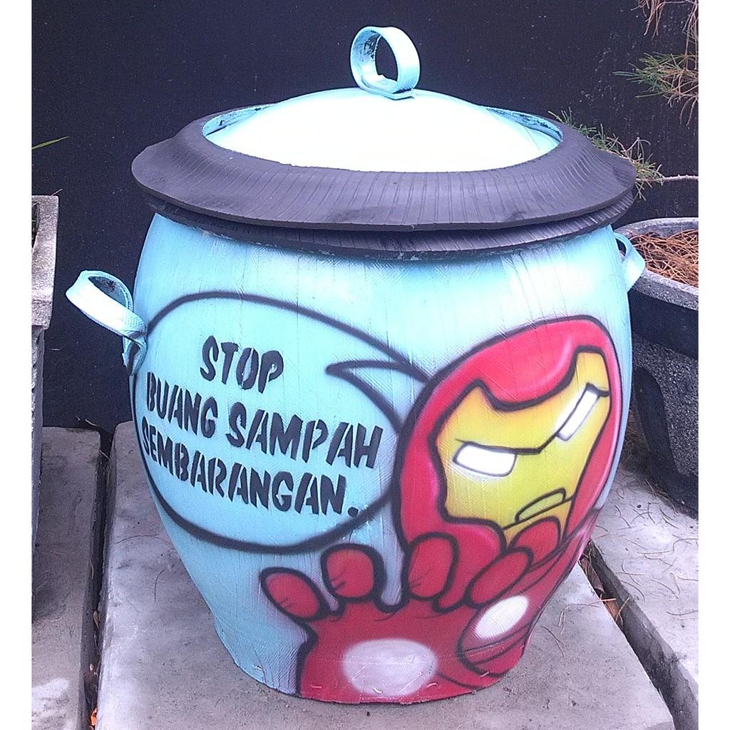 Tempat Sampah / Tong Sampah Karet Motif Keren