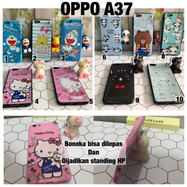 Softcase case boneka gantung boneka stand Oppo A37 pooh panda cat hello kitty doraemon | Shopee Indonesia
