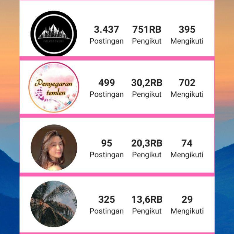 Akun Instagram aktif Followers 10k+ akun ig