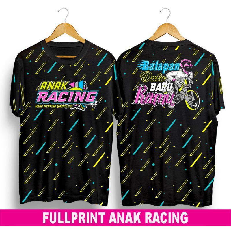 baju kaos distro terbaru pria wanita dewasa anak Fullprint anak racing bukan racing hell keren gaul