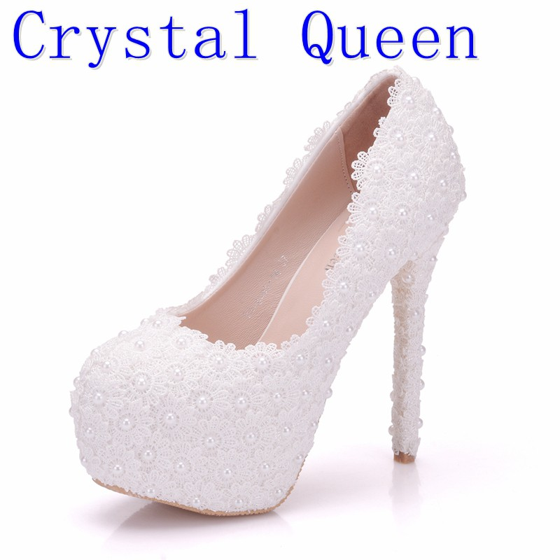 Cantik Mutiara Pernikahan Sepatu Berlian Imitasi Sepatu Pengantin Platform  tumit tinggi Pompa  275fab80836b