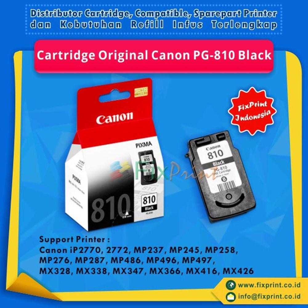 Cartridge Canon Pixma Pg 810 Black Hitam Ip2770 Ip2772 Mp237 Mp245 Aiflo Plug In Smart Printer Inkjet Ip2770mp237 Tinta Original Pg810 Mp258 Mp276 Mp287 Mp486 Mp496