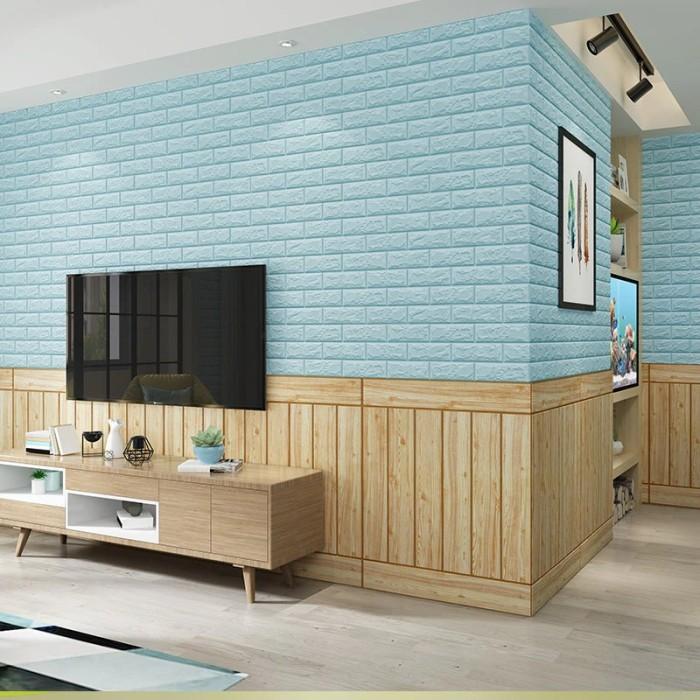 Wallpaper Brick Foam 3D [ Wallpaper Foam 70*77cm ] BABYJOS- Bata Biru