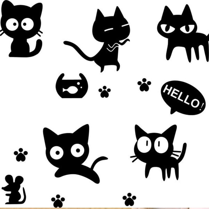 Stiker Dinding Dengan Bahan Mudah Dilepas Gambar Kartun Kucing 3d Warna Hitam Untuk Dekorasi Rumah Shopee Indonesia