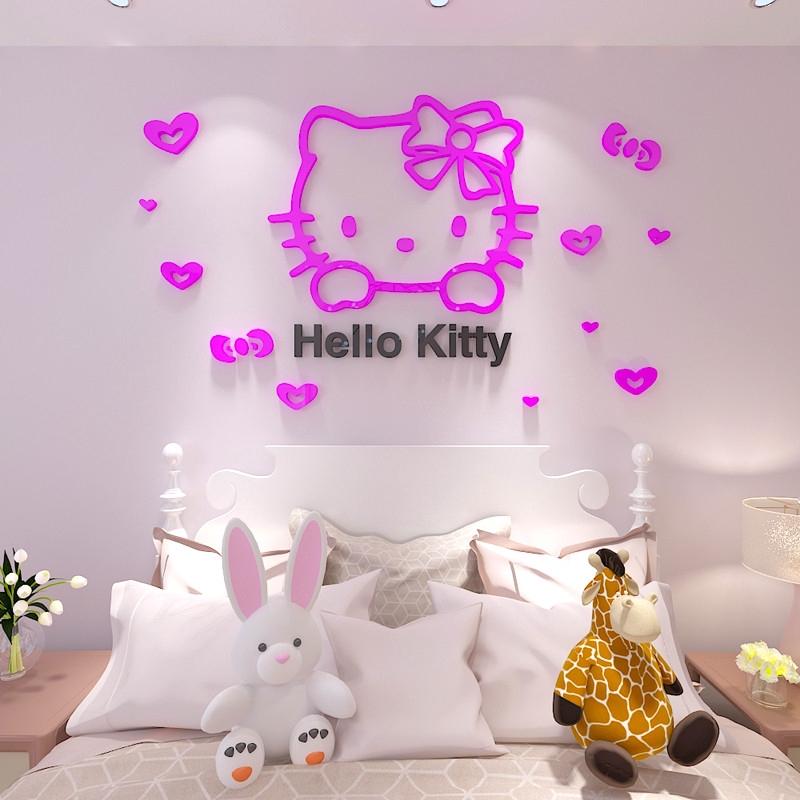 Stiker Dinding Desain Hello Kitty Kt 3d Bahan Akrilik Untuk Kamar Tidur Anak Shopee Indonesia