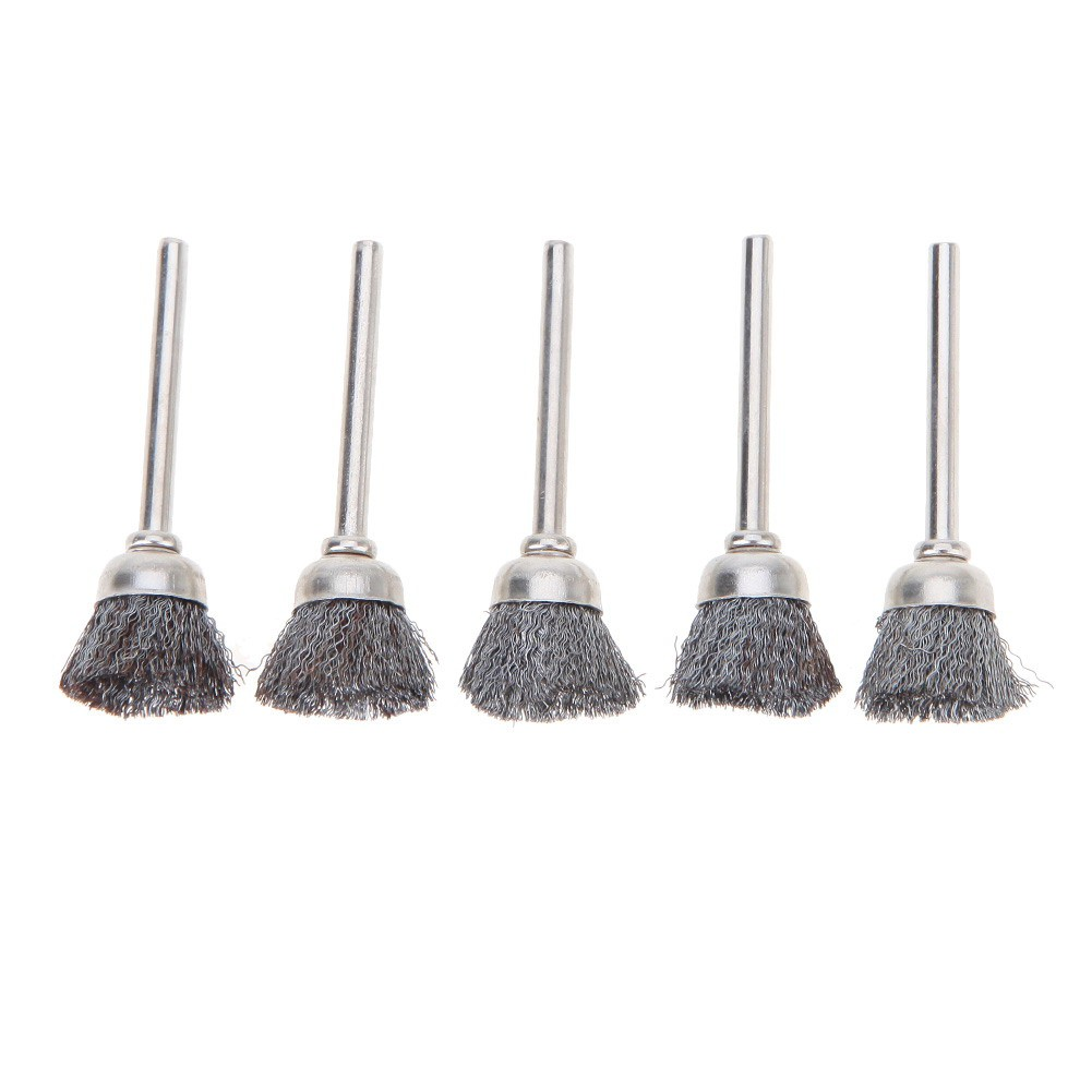 10pcs 3mm Shank Steel Wire Cup Brushes Wheel Set Dia 15mm for Power Rotary Tool