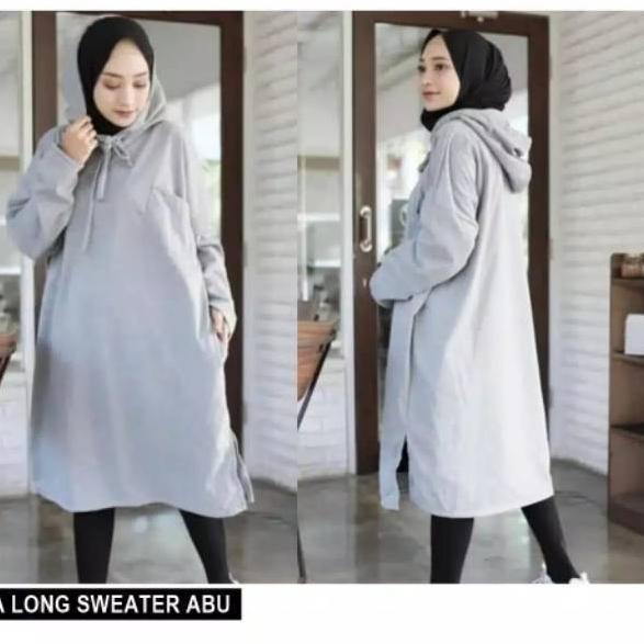 Ready 8bit Supplier Fashion Wanita Muslimah Hijab Sweater Gamis Kia Long Hoodie Fit To Xl C 539 Shopee Indonesia