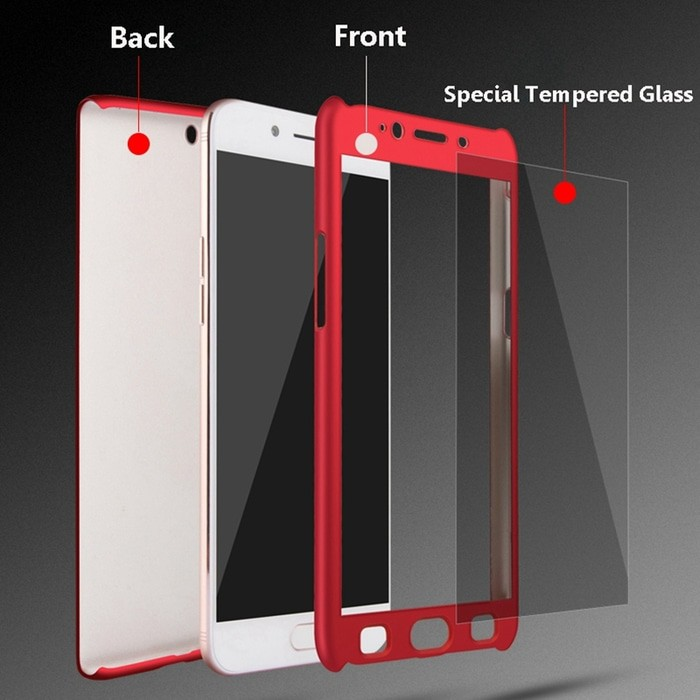 Hardcase Case 360 Oppo F5/ F5 Youth Casing Fullset Free Tempered Glass   Shopee Indonesia