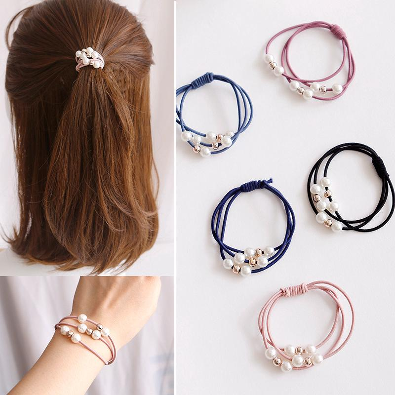 hair decoration imitation Pearl hair rope leather tendons warhead rope DIY Ikat Rambut Bentuk Daun thumbnail