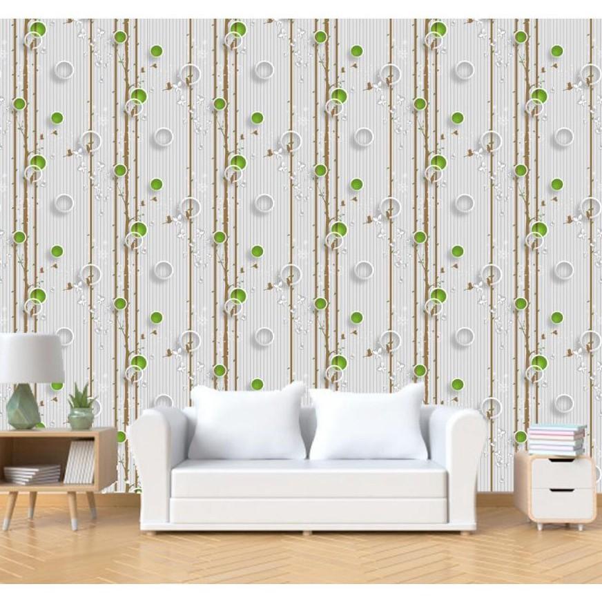 Promo Wallpaper Dinding Pohon Burung Hijau Polkadot Sticker Kamar Tidur Ruang Tamu Rumah Elegan Shopee Indonesia