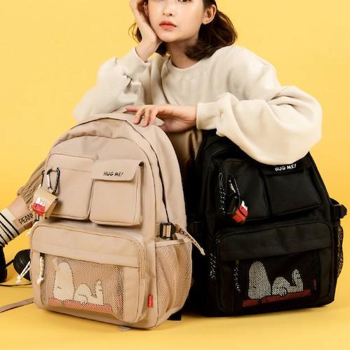 Peanuts Snoopy x Shoopen Korea / Backpack + AirPods Case + Pouch Set / Beige School mash tumbler laptop MacBook iPad bag casual multi pockets