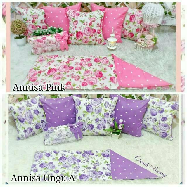 Sarung Bantal Shabby Sofa Kursi Preorder Home Set Ruang Tamu Shabbychic Bunga Pink Ungu Orange Salem