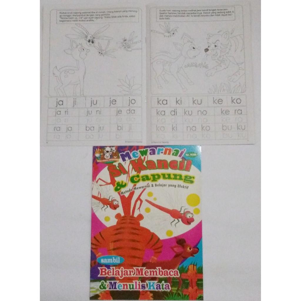 Buku Mewarnai Anakbelajar Membaca Atau Menulis Karakter Gambar Sikancil Dan Capung