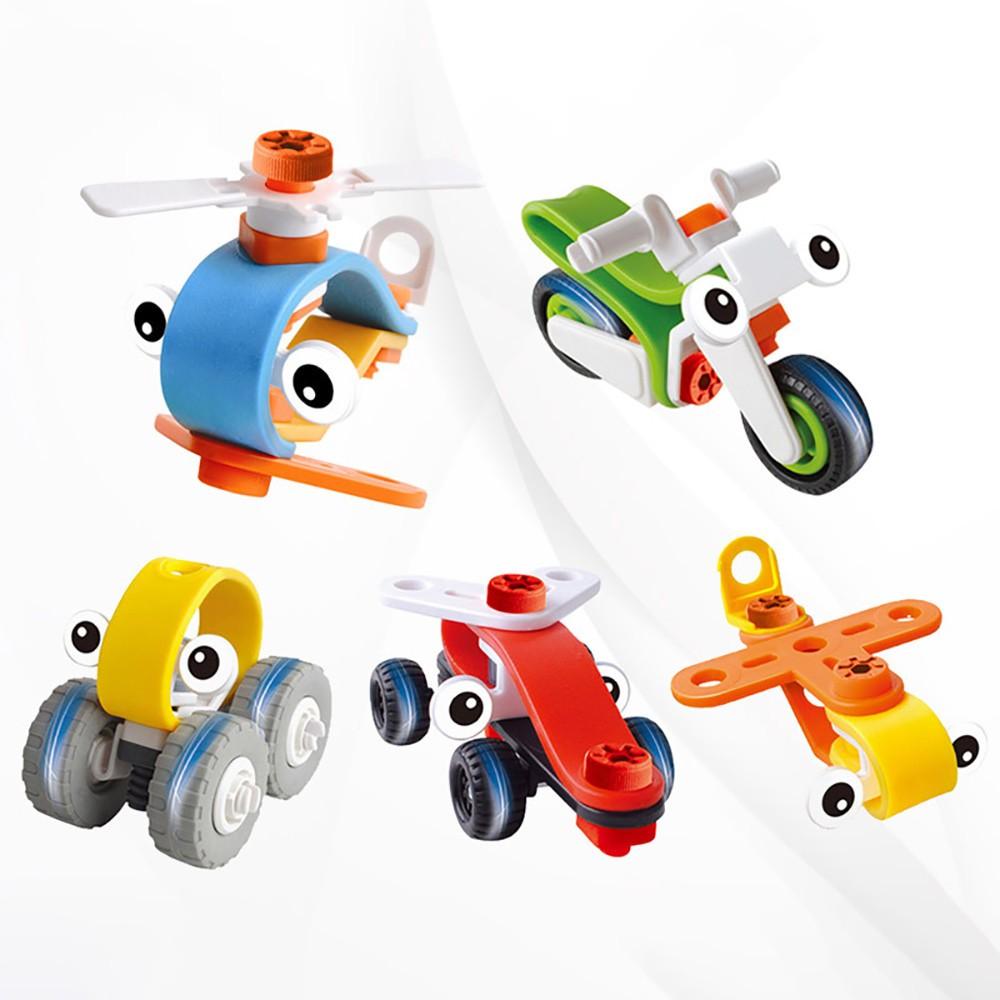 Mainan Puzzle Susun Blok Bentuk Kartun Kendaraan Mobil Helikopter Pesawat Untuk Imajinasi Anak DIY