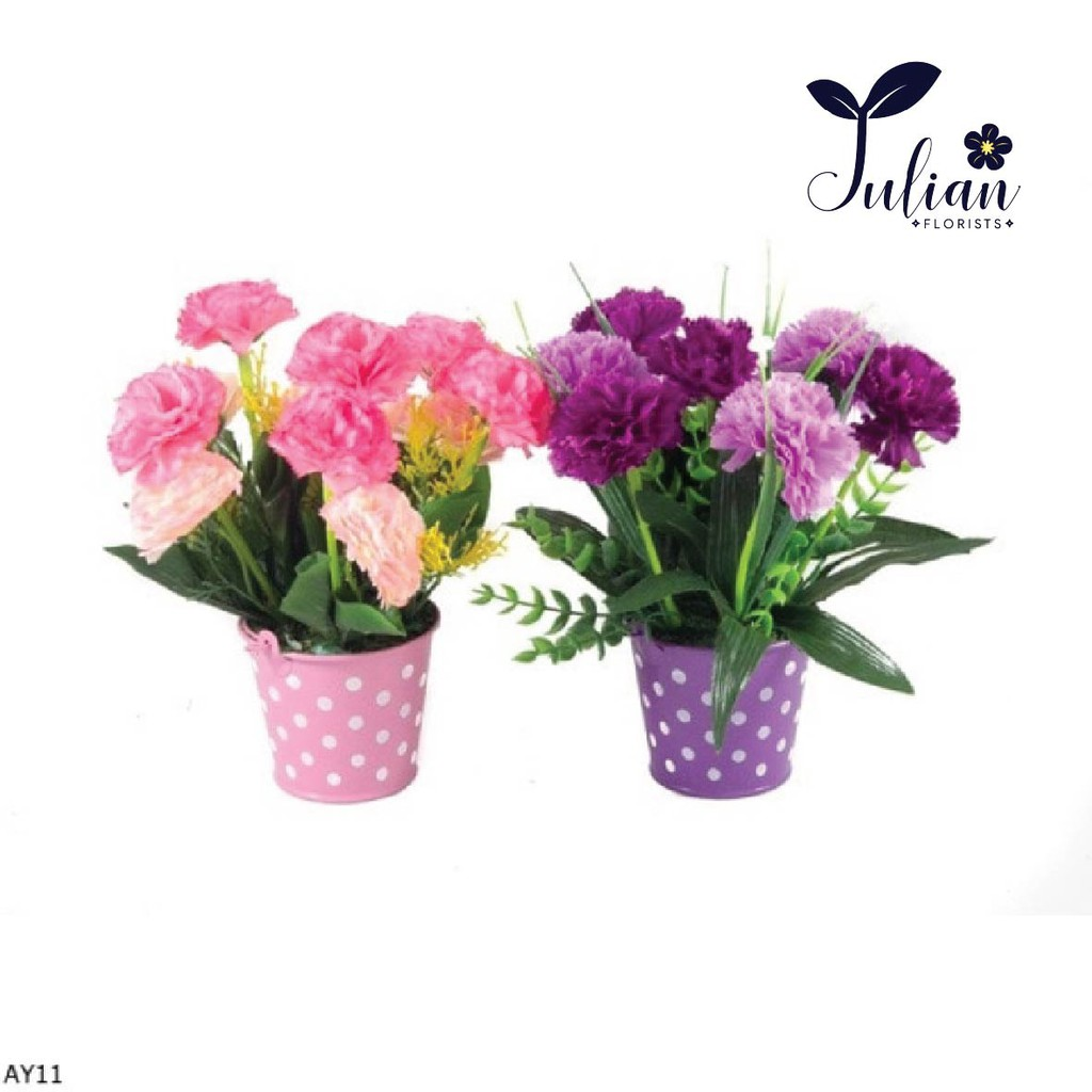 LV09 Buket Bunga Lavender Vas Ember Polkadot  Bunga Plastik  Bunga  Lavender  Bunga Meja  9b2c478178