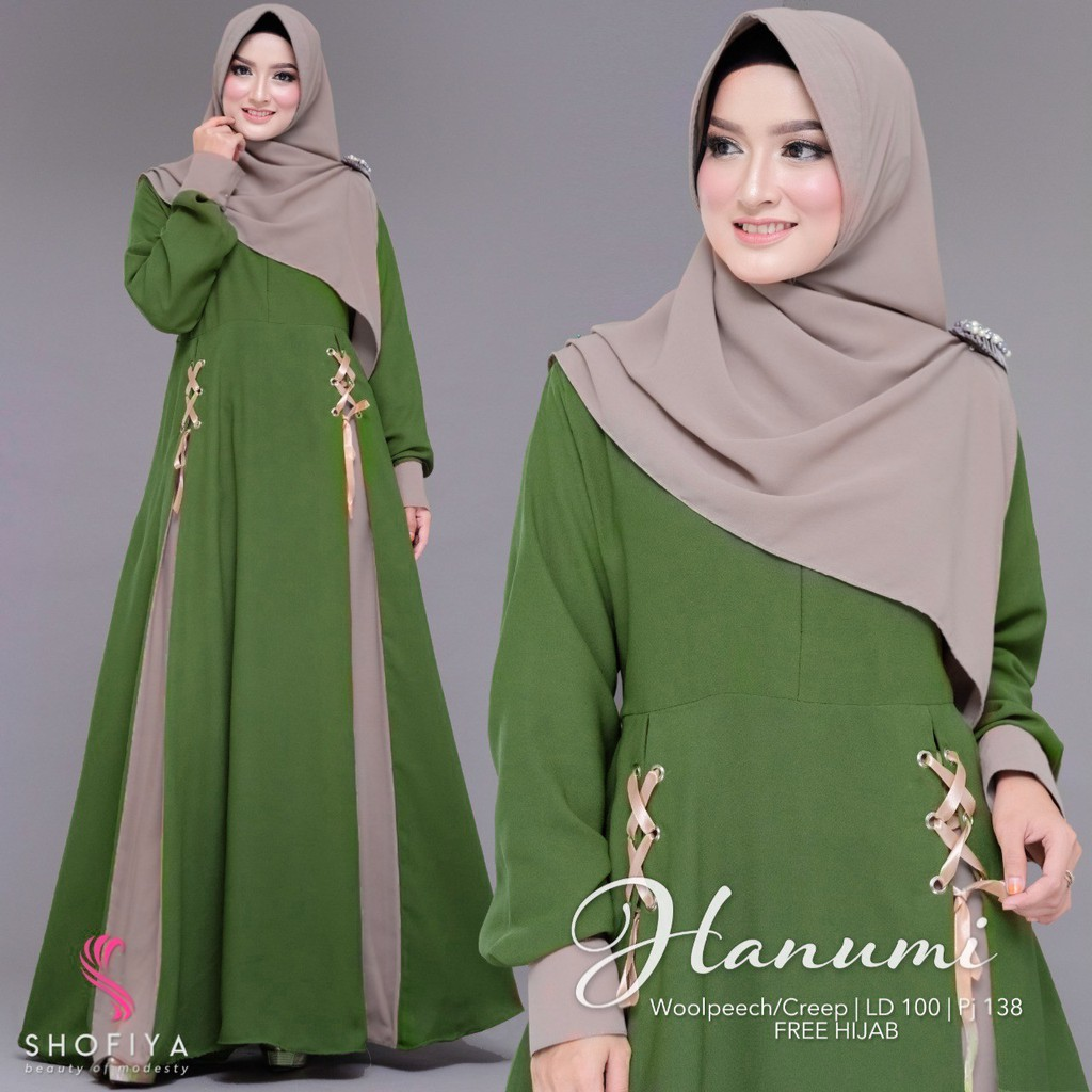 Pakaian Wanita Gamis Polos Bahan Wallcreep Desain Terbaru Gratis Jilbab  Dress Hanumi High Quality