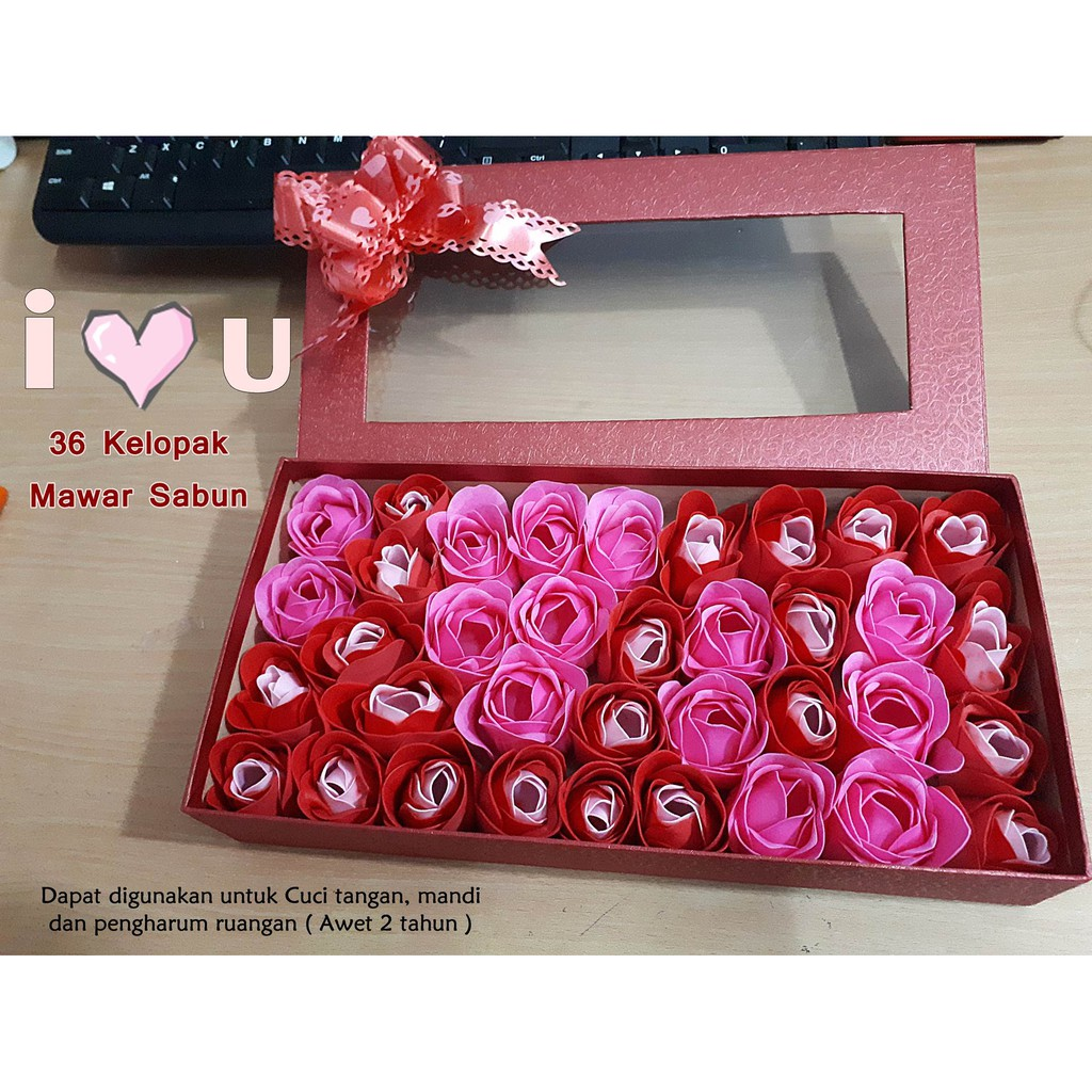 Buket 11 Bunga Mawar Sabun Box Pita Kado Ultah Wisuda Kartu Ucapan Unik Pacar Anniversary Shopee Indonesia