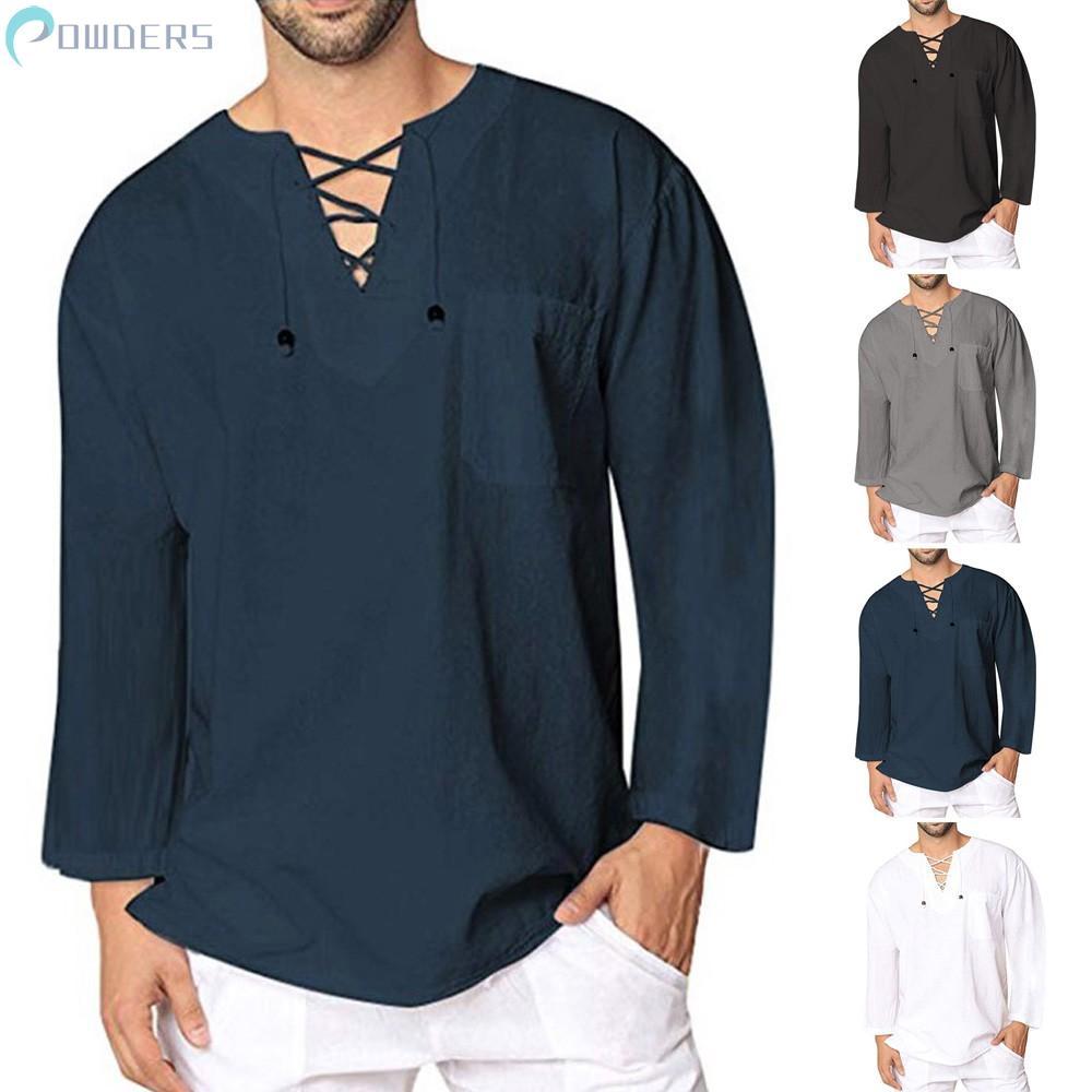Mens Summer T-Shirt Comfy Cotton Solid Hippie Shirt Linen V-Neck Beach Yoga Top | Shopee Indonesia
