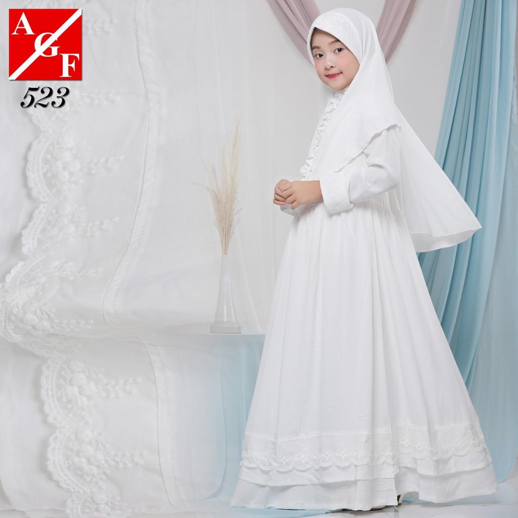 AGNES Gamis Putih Anak Perempuan Baju Busana Muslim Baju Umroh Anak Baju  Lebaran Anak Wanita #8