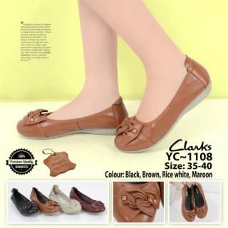 b200357f Promo Sepatu wanita Clarks Bow Flat YC-1108 | Shopee Indonesia