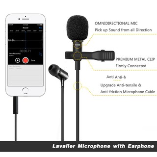🎤Mini Lavalier Microphone with Earphone Perfect for Recording  Youtube/Interview/Voice Chat🎤