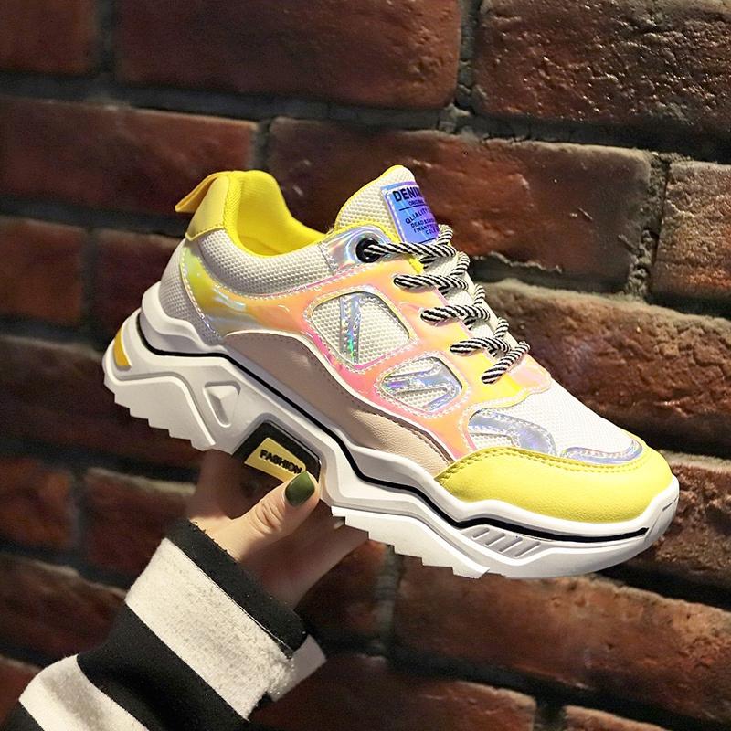 Sepatu Sneakers Wanita Sepatu Lari Gaya Korea Warna Kuning Sol