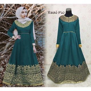 Ready Baju Gamis Batik Remaja Muslim Modern Pesta India Melani Warna