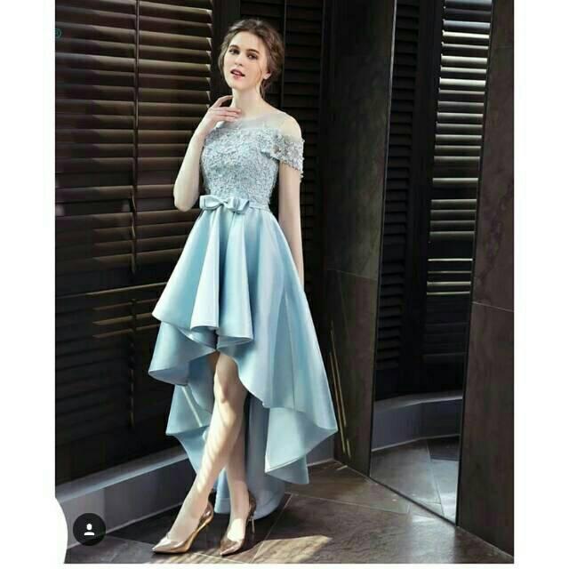 Gaun Pesta Dress Brokat Satin Mewah Modern Biru Cantik