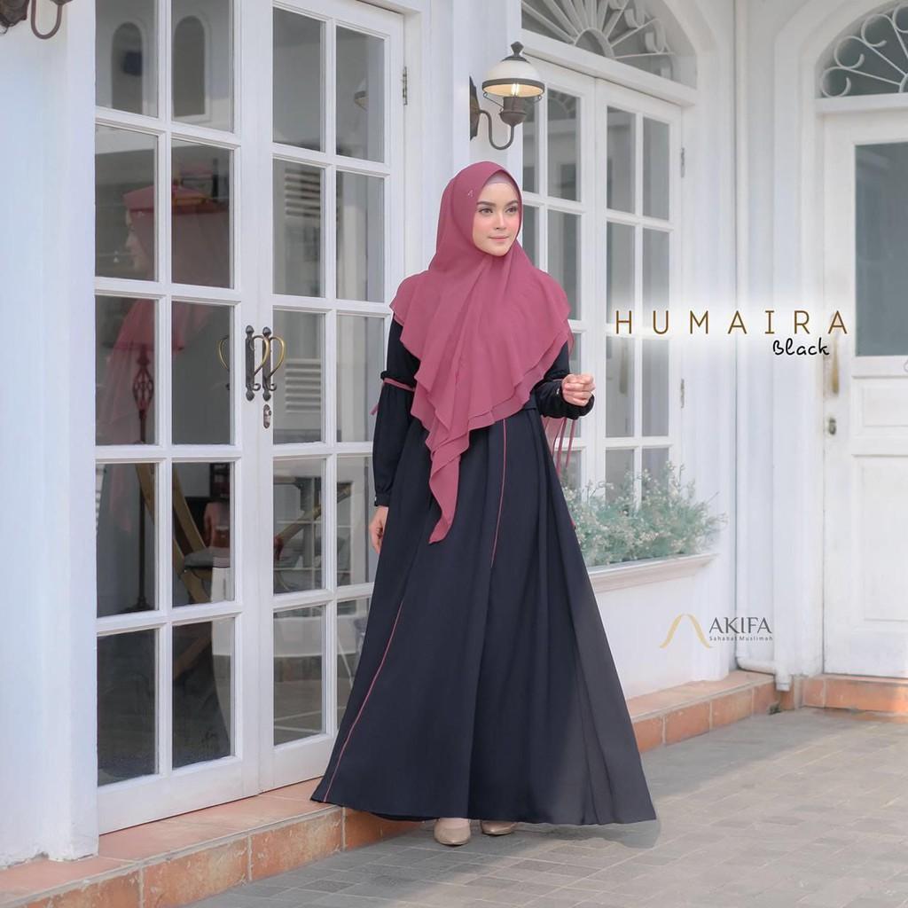 Humaira Dress Ori AKIFA Gamis Syari Set Khimar Instan Jumbo Ity crepe Premium konveksi zeelabels