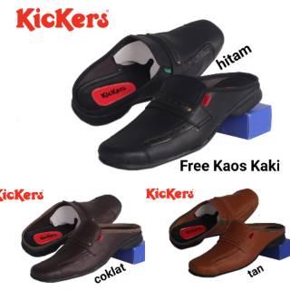 SEPATU SANDAL PRIA KICKERS KANCING SLOP SENDAL BUSTONG TUTONG COWOK Semi  Pantofel Kulit Sintetis  aebee99a82