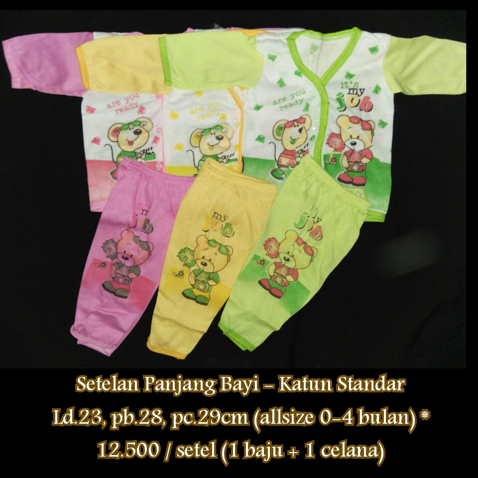 Setelan Piyama Bayi Lengan Panjang Usia 3 18 Bulan Merek Yeiko Anak Cowo Motif Beruang Bear Shopee Indonesia