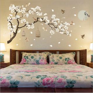 stiker dinding pohon burung bunga dekorasi rumah wallpaper